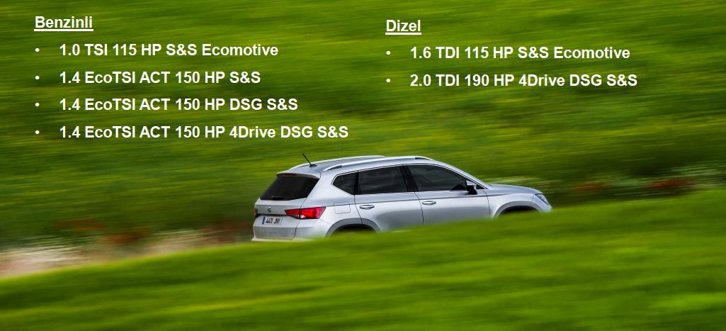 Yeni Seat Ateca İki benzinli iki dizel motor seçeneğiyle yola çıkıyor.