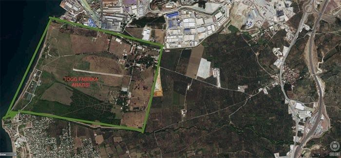 TOGG Otomobil Fabrkası Gemlik'te bu arazi üzerine kurulacak.