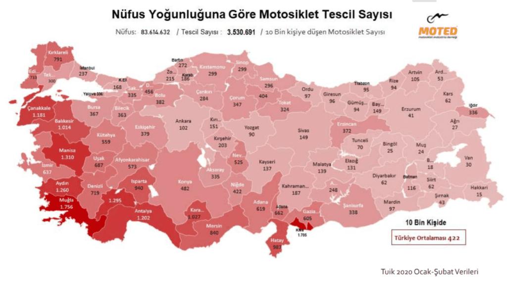 motosiklet tescil sayısı haritası